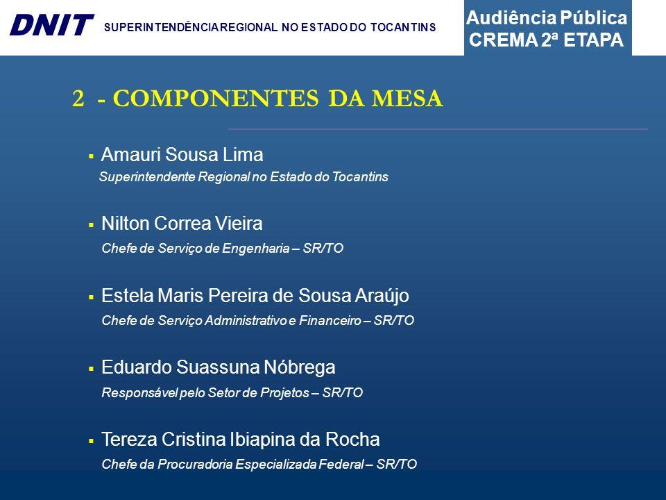 2 - COMPONENTES DA MESA Amauri Sousa Lima Nilton Correa Vieira