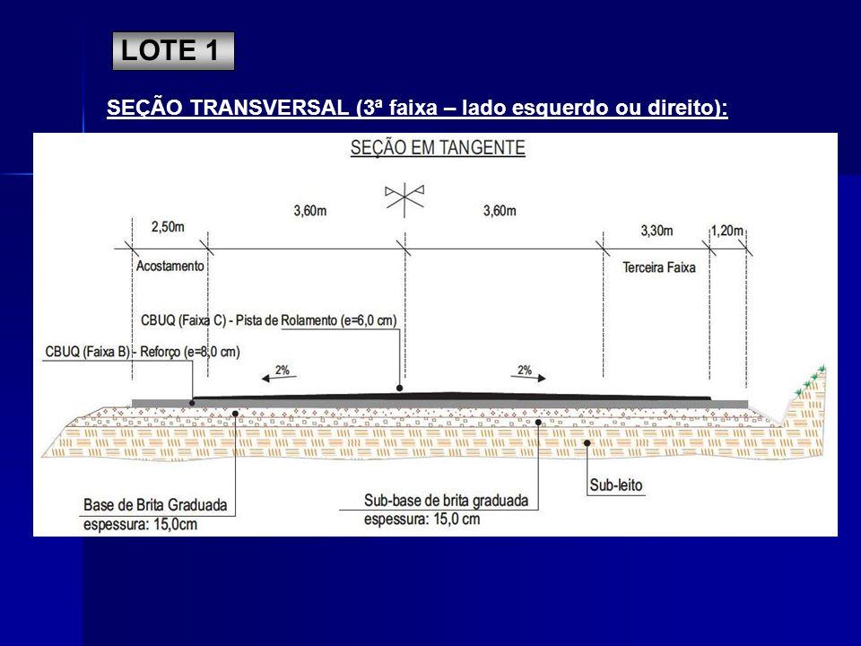 LOTE 1 SEÇÃO TRANSVERSAL (3ª faixa – lado esquerdo ou direito):