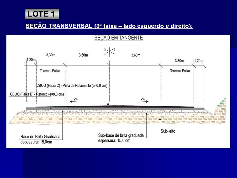 LOTE 1 SEÇÃO TRANSVERSAL (3ª faixa – lado esquerdo e direito):