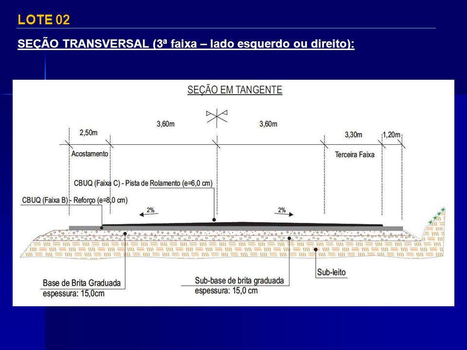 LOTE 02 SEÇÃO TRANSVERSAL (3ª faixa – lado esquerdo ou direito):