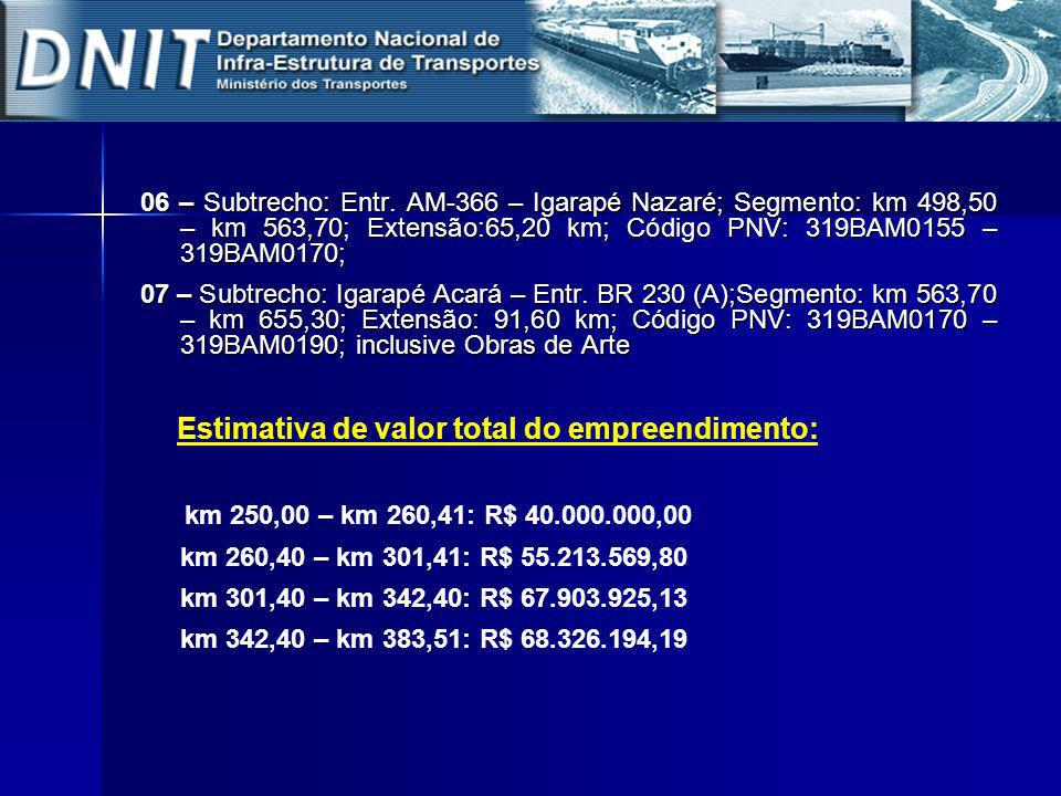 06 – Subtrecho: Entr. AM-366 – Igarapé Nazaré; Segmento: km 498,50 – km 563,70; Extensão:65,20 km; Código PNV: 319BAM0155 – 319BAM0170;