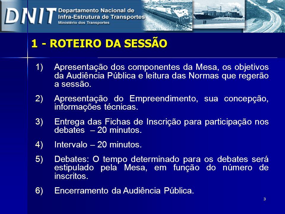 1 - ROTEIRO DA SESSÃOApresentação dos componentes da Mesa, os objetivos da Audiência Pública e leitura das Normas que regerão a sessão.