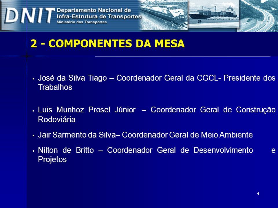 2 - COMPONENTES DA MESAJosé da Silva Tiago – Coordenador Geral da CGCL- Presidente dos Trabalhos.