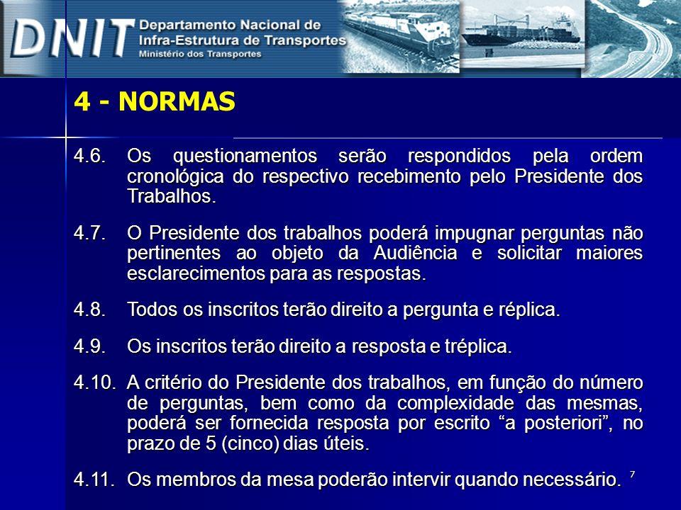 4 - NORMAS4.6. Os questionamentos serão respondidos pela ordem cronológica do respectivo recebimento pelo Presidente dos Trabalhos.