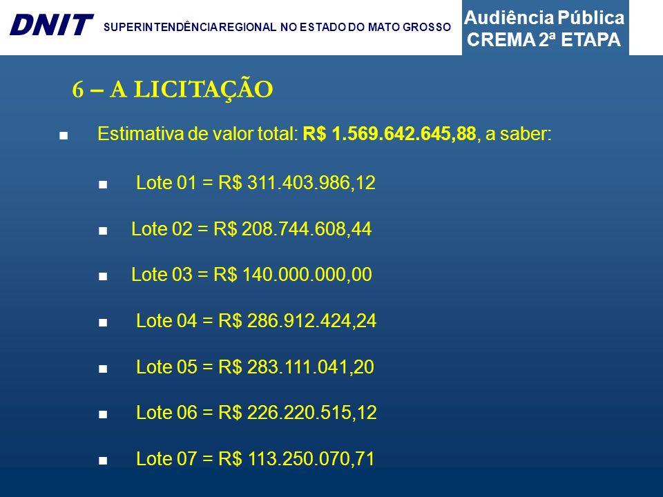 6 – A LICITAÇÃO Estimativa de valor total: R$ 1.569.642.645,88, a saber: Lote 01 = R$ 311.403.986,12.