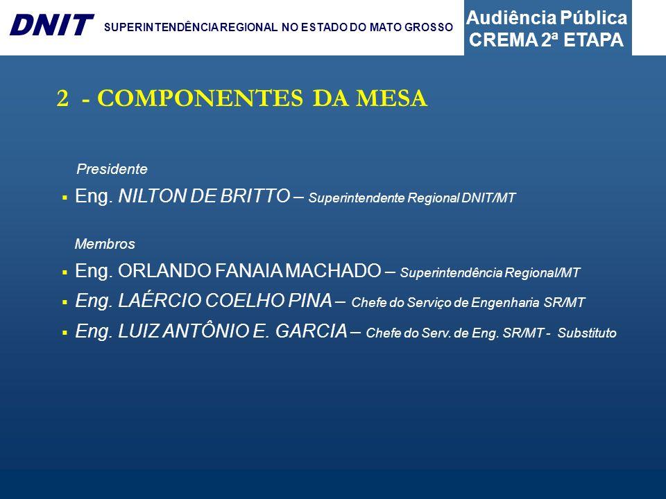 2 - COMPONENTES DA MESA Presidente. Eng. NILTON DE BRITTO – Superintendente Regional DNIT/MT. Membros.