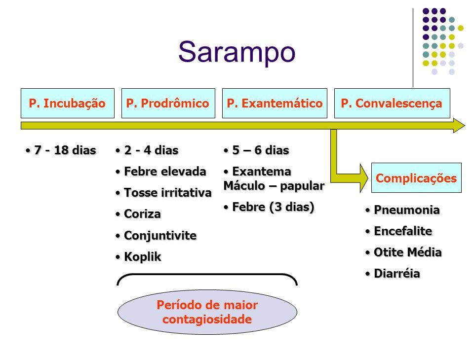 Sarampo P. Incubação P. Prodrômico P. Exantemático P. Convalescença