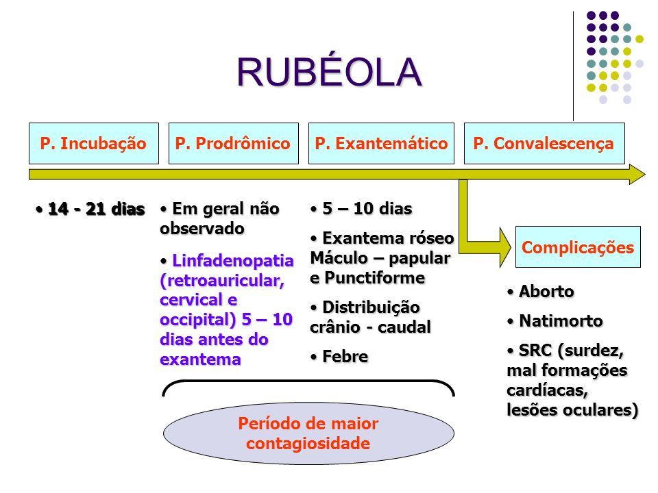 RUBÉOLA P. Incubação P. Prodrômico P. Exantemático P. Convalescença