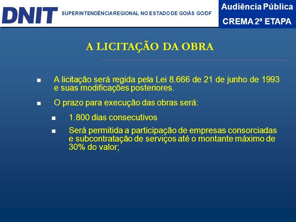A LICITAÇÃO DA OBRA Audiência Pública CREMA 2ª ETAPA