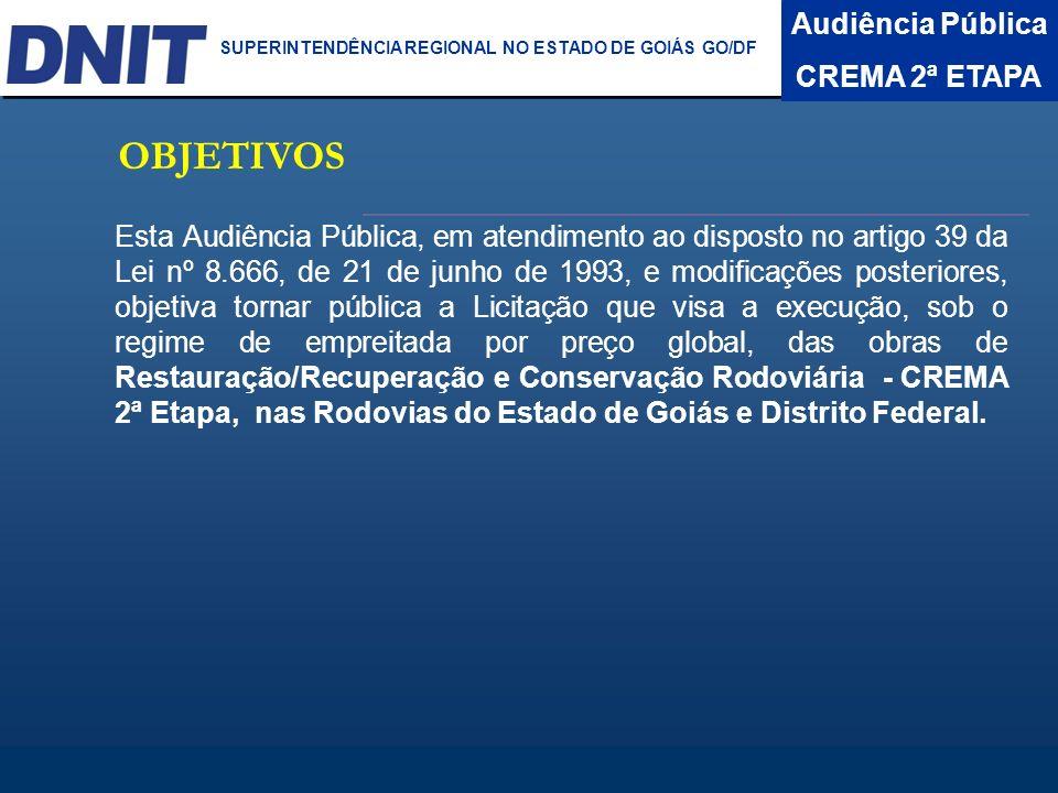 OBJETIVOS Audiência Pública CREMA 2ª ETAPA