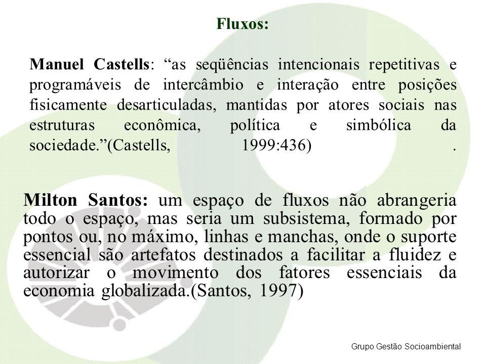 Fluxos: Manuel Castells: as seqüências intencionais repetitivas e programáveis de intercâmbio e interação entre posições fisicamente desarticuladas, mantidas por atores sociais nas estruturas econômica, política e simbólica da sociedade. (Castells, 1999:436) .