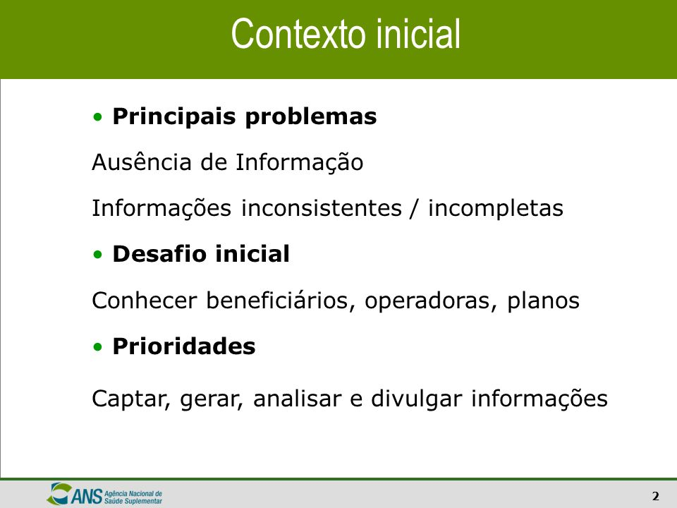 Contexto inicial Principais problemas Ausência de Informação