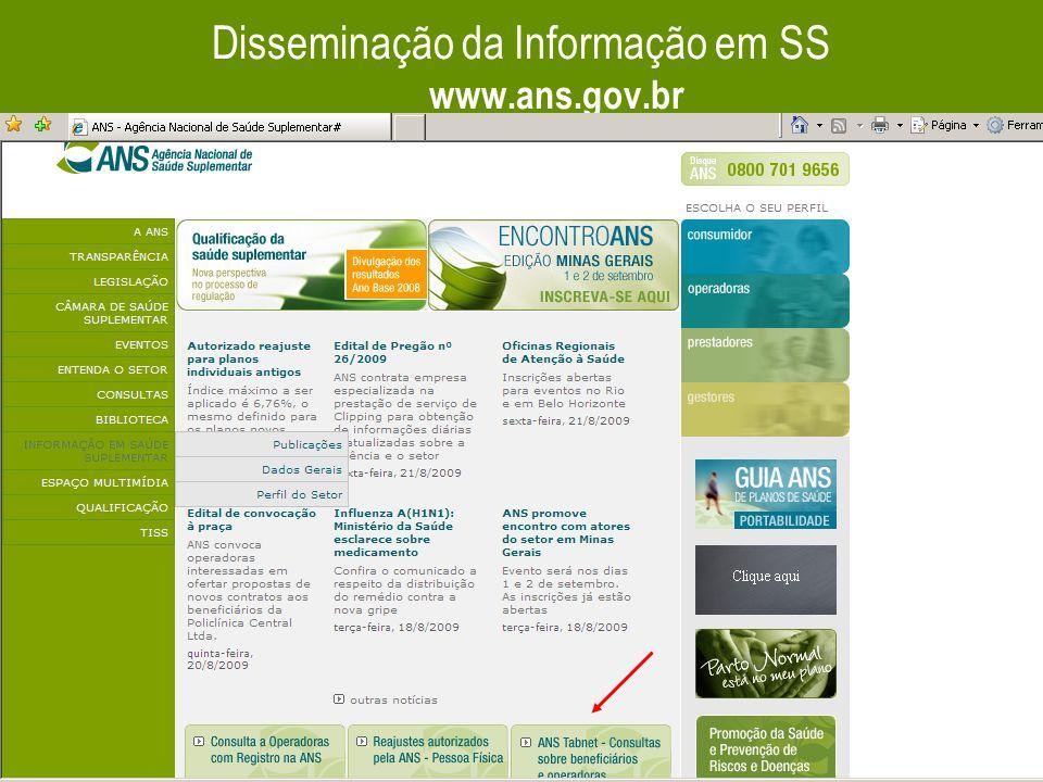 Disseminação da Informação em SS www.ans.gov.br
