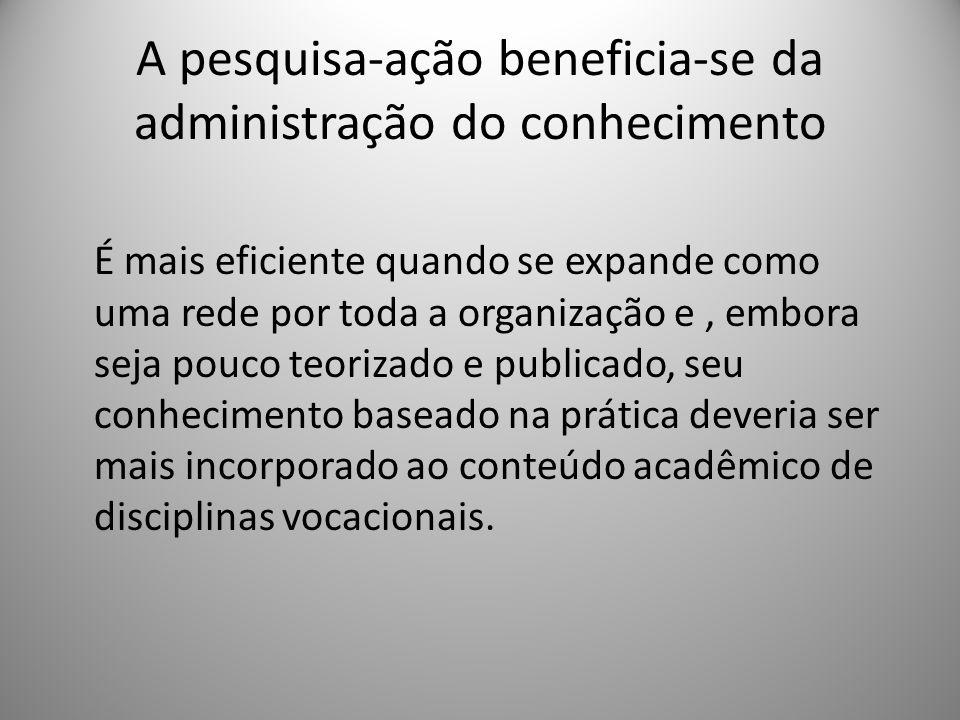 A pesquisa-ação beneficia-se da administração do conhecimento
