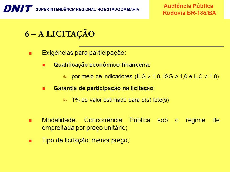 6 – A LICITAÇÃO Exigências para participação: