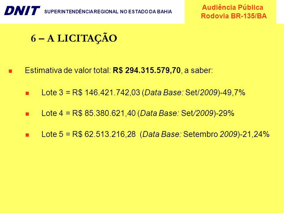 6 – A LICITAÇÃO Estimativa de valor total: R$ 294.315.579,70, a saber: