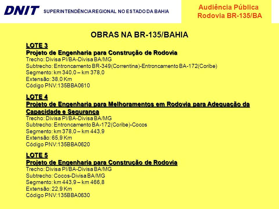 OBRAS NA BR-135/BAHIA LOTE 3