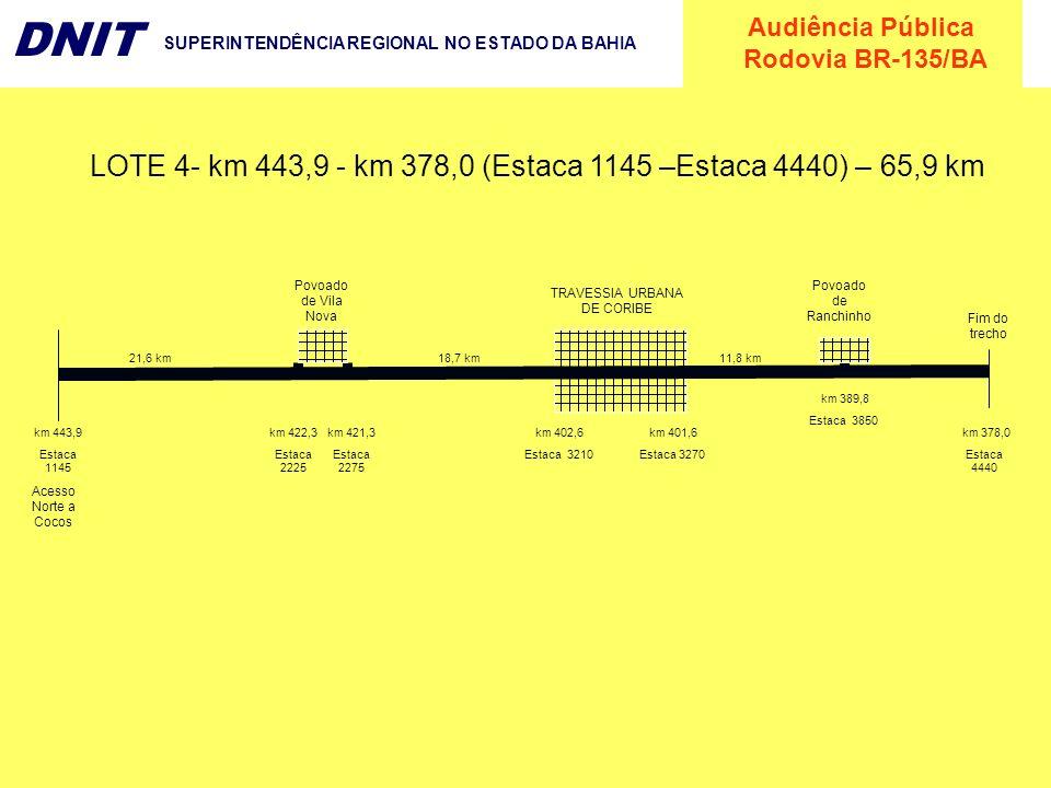 LOTE 4- km 443,9 - km 378,0 (Estaca 1145 –Estaca 4440) – 65,9 km