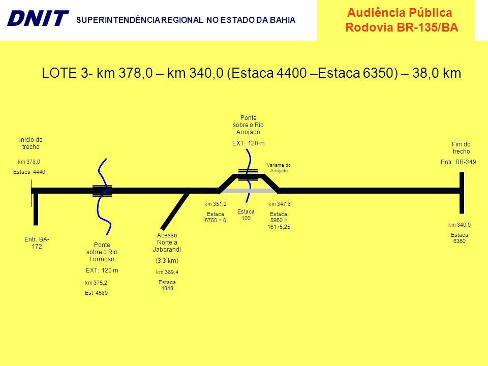 LOTE 3- km 378,0 – km 340,0 (Estaca 4400 –Estaca 6350) – 38,0 km