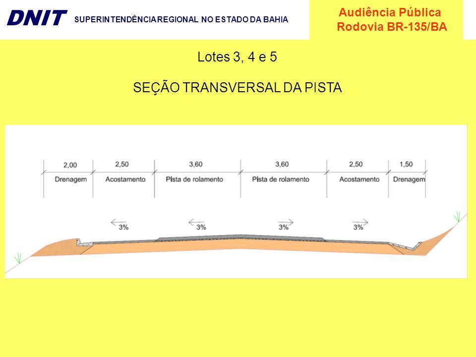 SEÇÃO TRANSVERSAL DA PISTA