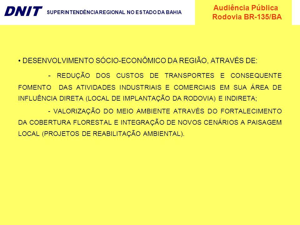 DESENVOLVIMENTO SÓCIO-ECONÔMICO DA REGIÃO, ATRAVÉS DE: