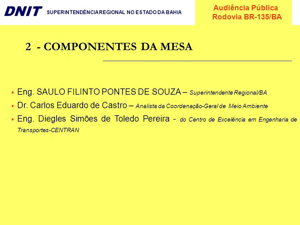 2 - COMPONENTES DA MESA Eng. SAULO FILINTO PONTES DE SOUZA – Superintendente Regional/BA.