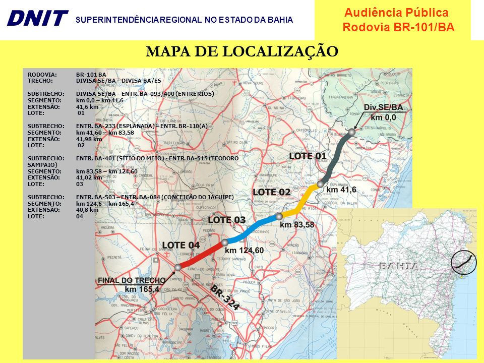 MAPA DE LOCALIZAÇÃO RODOVIA: BR-101 BA