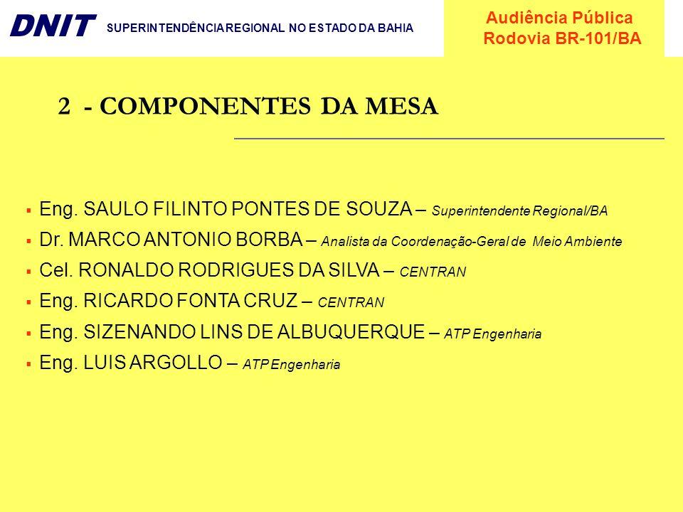 2 - COMPONENTES DA MESAEng. SAULO FILINTO PONTES DE SOUZA – Superintendente Regional/BA.
