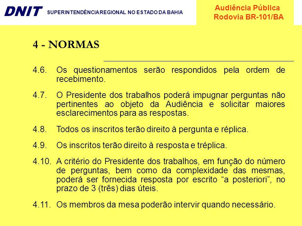 4 - NORMAS4.6. Os questionamentos serão respondidos pela ordem de recebimento.