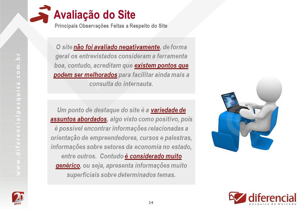 Avaliação do Site Principais Observações Feitas a Respeito do Site.