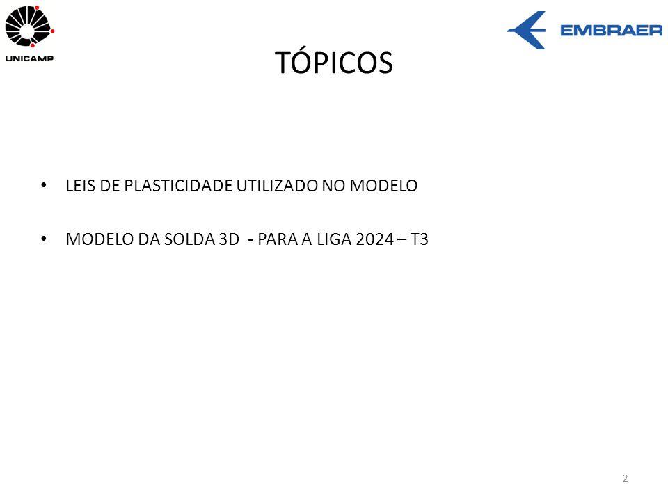 TÓPICOS LEIS DE PLASTICIDADE UTILIZADO NO MODELO