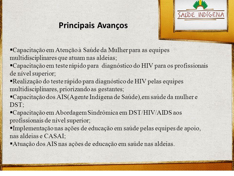 Principais Avanços Capacitação em Atenção à Saúde da Mulher para as equipes multidisciplinares que atuam nas aldeias;