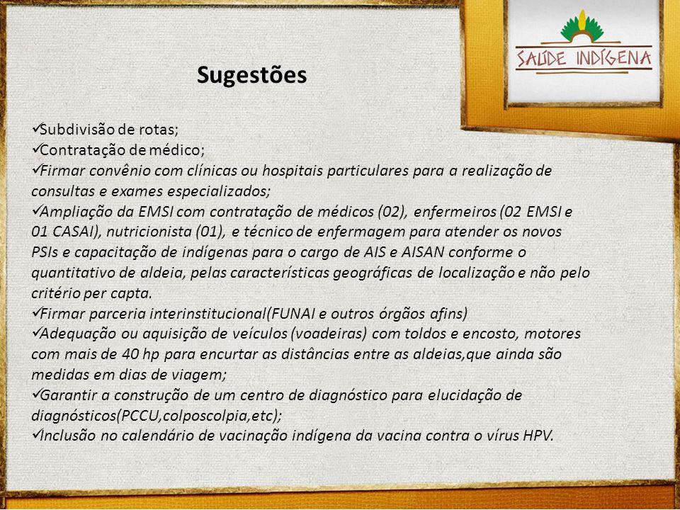 Sugestões Subdivisão de rotas; Contratação de médico;