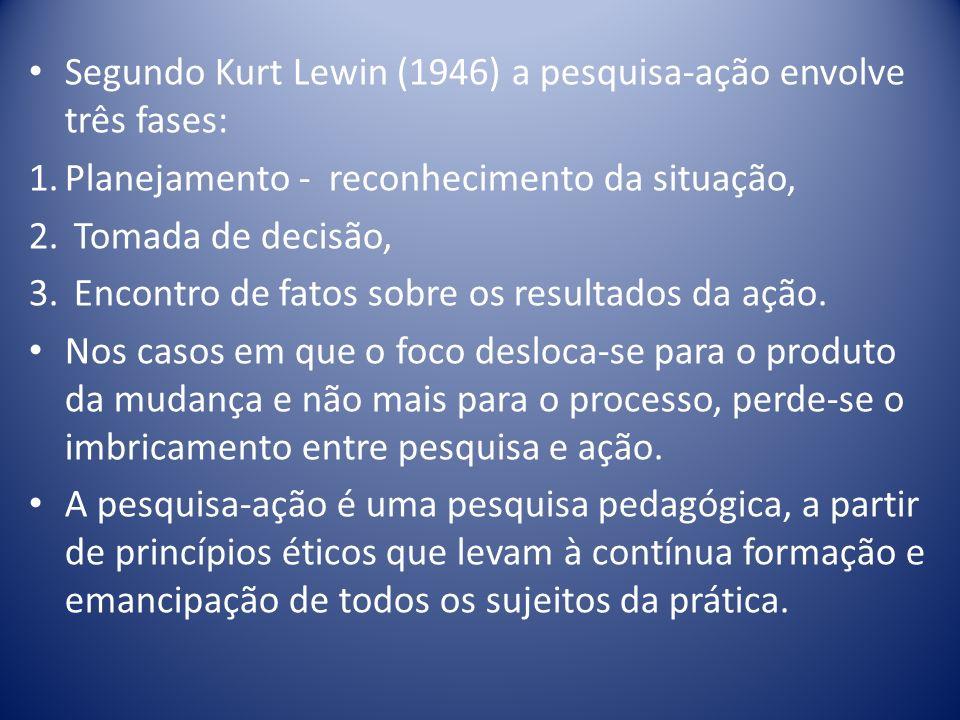 Segundo Kurt Lewin (1946) a pesquisa-ação envolve três fases: