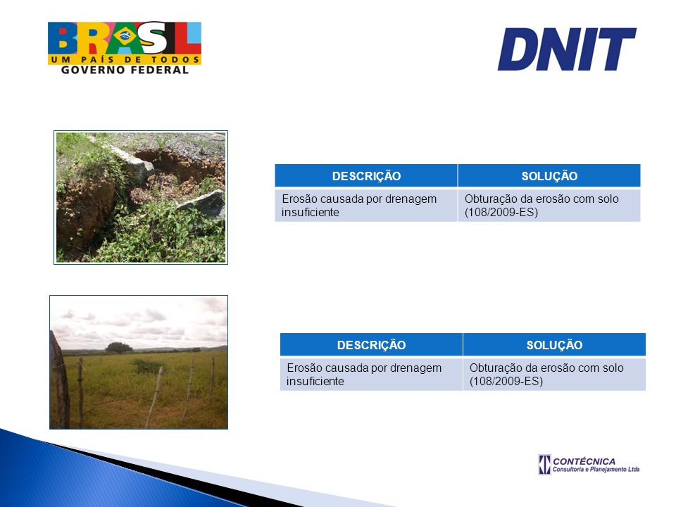 DESCRIÇÃOSOLUÇÃO. Erosão causada por drenagem insuficiente. Obturação da erosão com solo. (108/2009-ES)