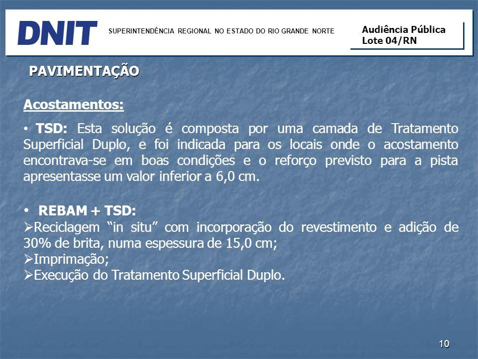 REBAM + TSD: PAVIMENTAÇÃO Acostamentos: