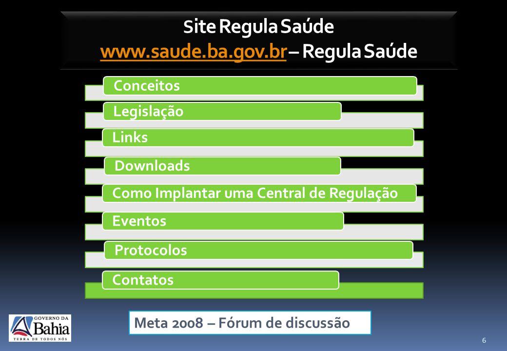 Site Regula Saúde www.saude.ba.gov.br – Regula Saúde