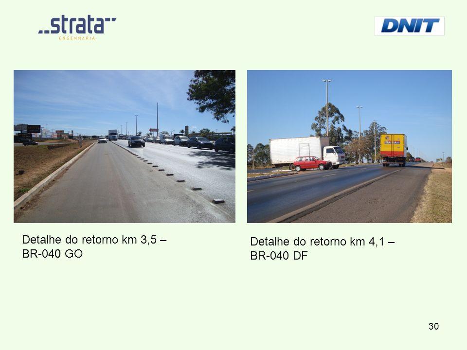 Detalhe do retorno km 3,5 – BR-040 GO Detalhe do retorno km 4,1 – BR-040 DF