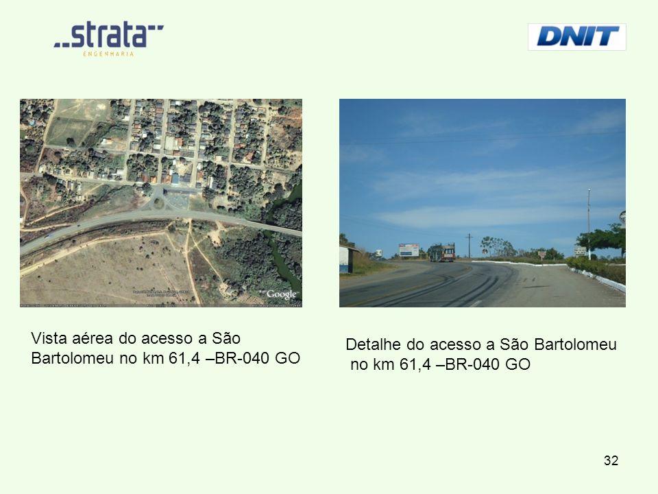 Vista aérea do acesso a São Bartolomeu no km 61,4 –BR-040 GO