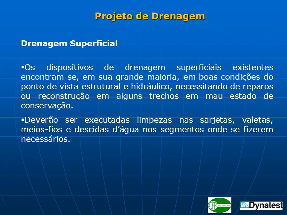 Projeto de Drenagem Drenagem Superficial.