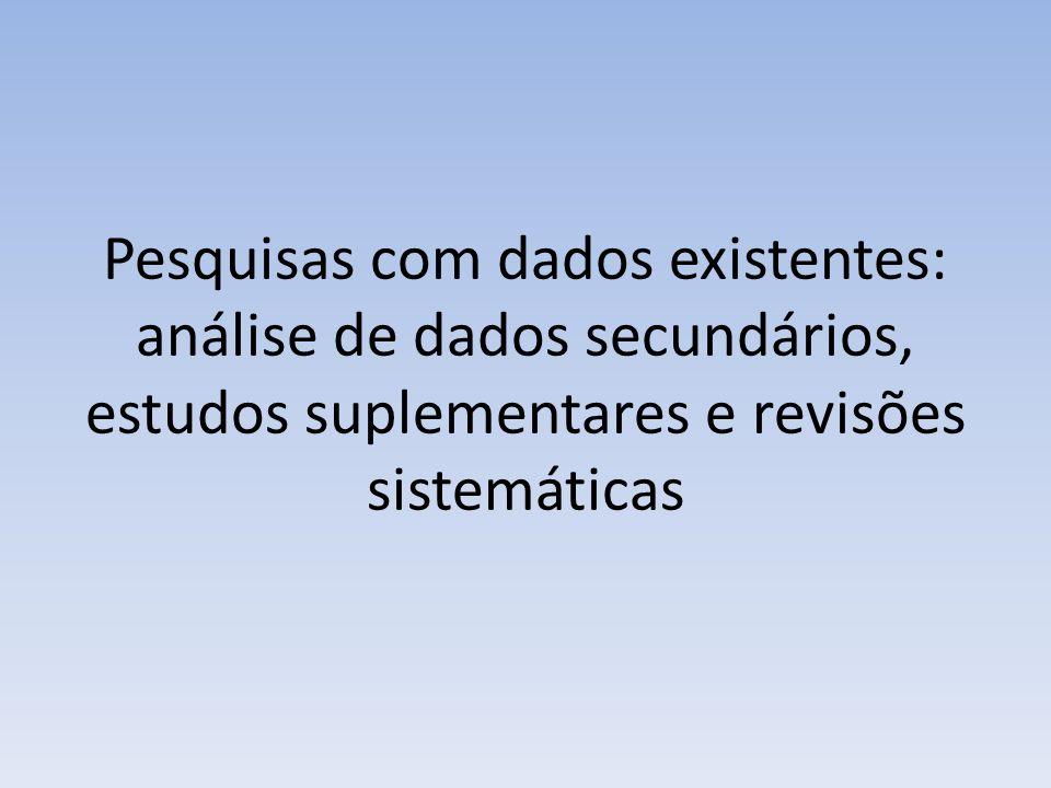 Pesquisas com dados existentes: análise de dados secundários, estudos suplementares e revisões sistemáticas