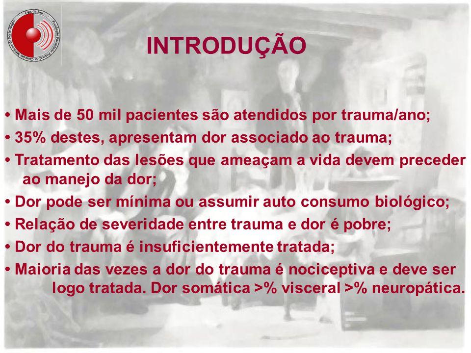 INTRODUÇÃO • Mais de 50 mil pacientes são atendidos por trauma/ano;