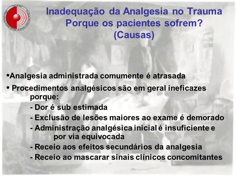 Inadequação da Analgesia no Trauma Porque os pacientes sofrem (Causas)