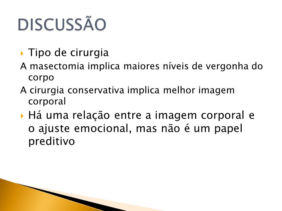 DISCUSSÃOTipo de cirurgia. A masectomia implica maiores níveis de vergonha do corpo. A cirurgia conservativa implica melhor imagem corporal.
