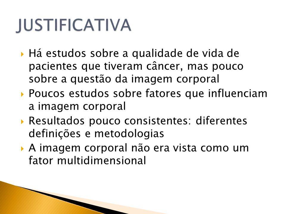 JUSTIFICATIVA Há estudos sobre a qualidade de vida de pacientes que tiveram câncer, mas pouco sobre a questão da imagem corporal.