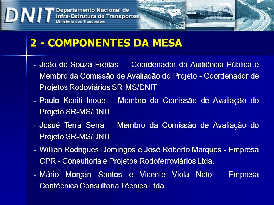 2 - COMPONENTES DA MESA