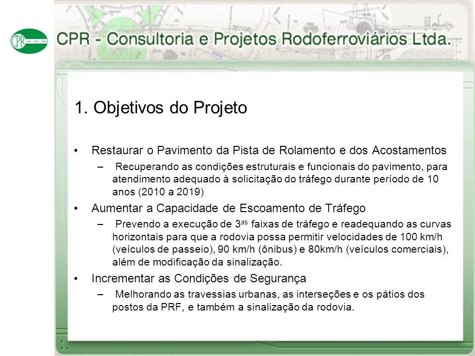 1. Objetivos do Projeto Restaurar o Pavimento da Pista de Rolamento e dos Acostamentos.