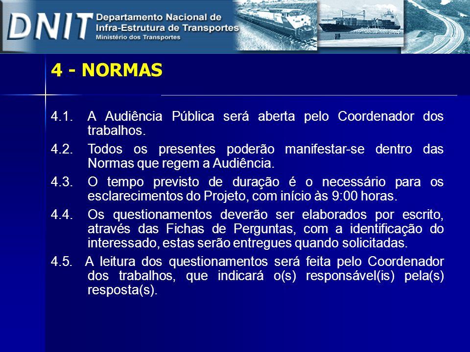4 - NORMAS 4.1. A Audiência Pública será aberta pelo Coordenador dos trabalhos.