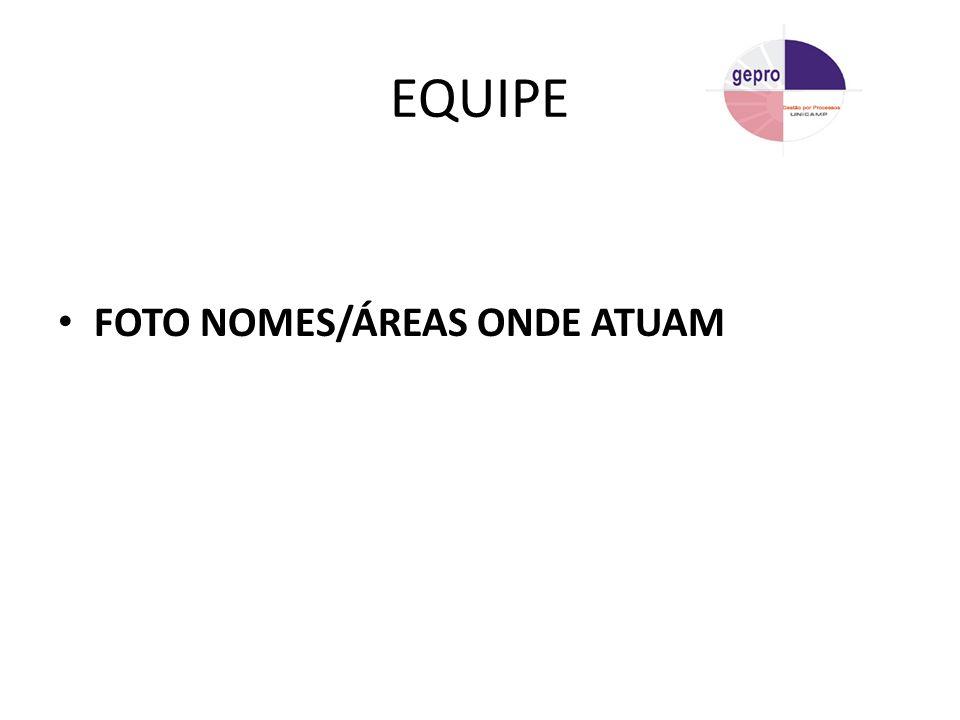 EQUIPE FOTO NOMES/ÁREAS ONDE ATUAM