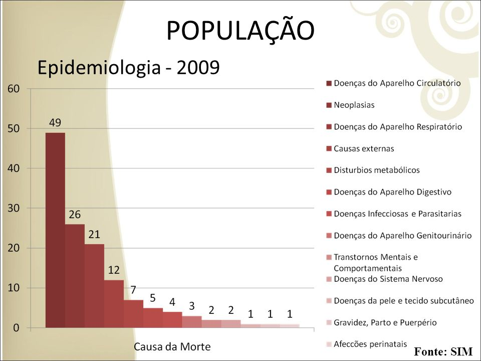 POPULAÇÃO Epidemiologia - 2009 Fonte: SIM